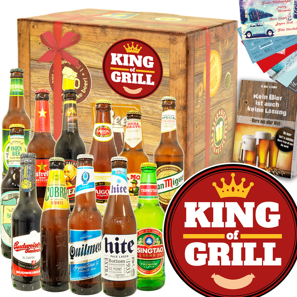 King of Grill | 12 Biersorten Bier International | Biergeschenk