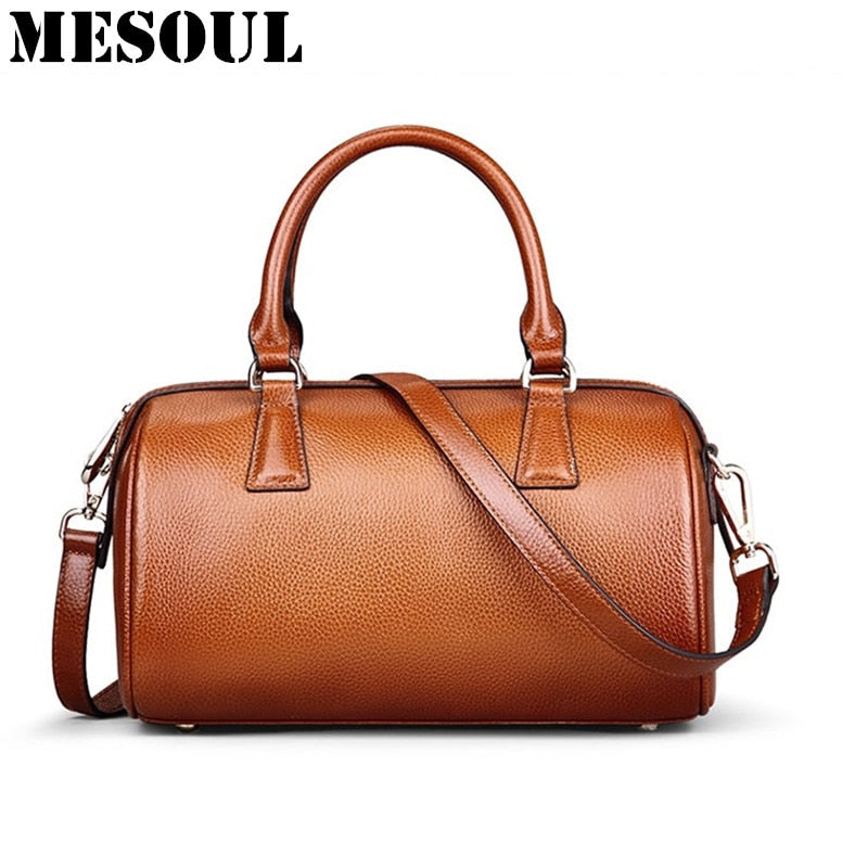 bc671011d0e0 Brand Designer Boston Bag Ladies Genuine Leather Handbag Women Shoulder  Bags Fashion Vintage Brown Purses Luxury Tote Bag Bolsas