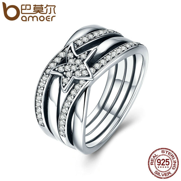 f6d7c43c6 BAMOER Spring Collection 925 Sterling Silver Star Twisted Statement Ring For  Women Engagement S925 Silver Jewelry
