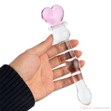 Heart Pink Crystal  Glass Dildo