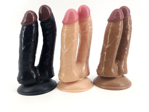 Double Flesh Brown Black Dildo Silicone Suction Cup Double Penetration