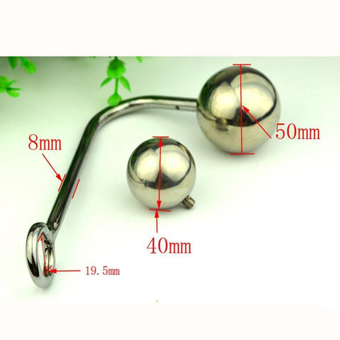 Image of 2 ALTERNATIVE BALLS SIZES STAINLESS STEEL ANAL HOOK  pluglust
