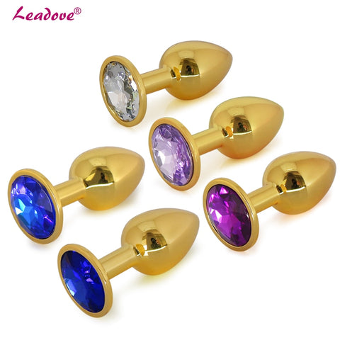 MULTI COLOR JEWEL GOLDEN STAINLESS STEEL PLUG