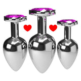 3 SIZES 10 COLORS JEWELED HEART-SHAPED STAINLESS STEEL PLUG