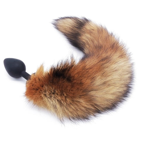 "14"" - 16"" BROWN FOX TAIL TPE PLUG Black 419Positive"