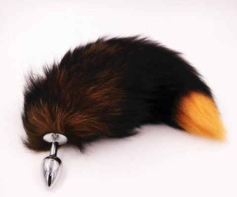 "15"" - 16"" BLACK WITH ORANGE CAT TAIL METAL PLUG  ever-us"