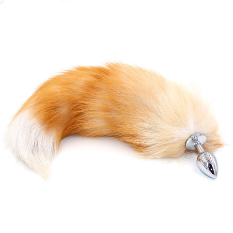 "16"" - 17"" LIGHT BROWN CAT TAIL METAL PLUG  theelaborated"