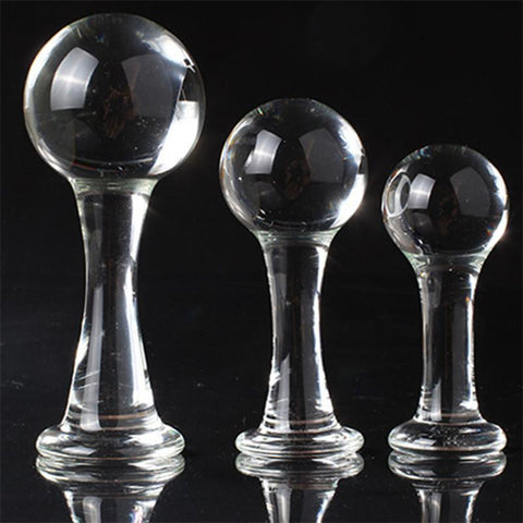 3 SIZES BIG BALL-SHAPED HEAD TRANSPARENT BUTT PLUG  pluglust
