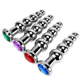 MULTI COLOR JEWEL-PLATED WITH 5 BALLS STAINLESS STEEL PLUG  ever-us