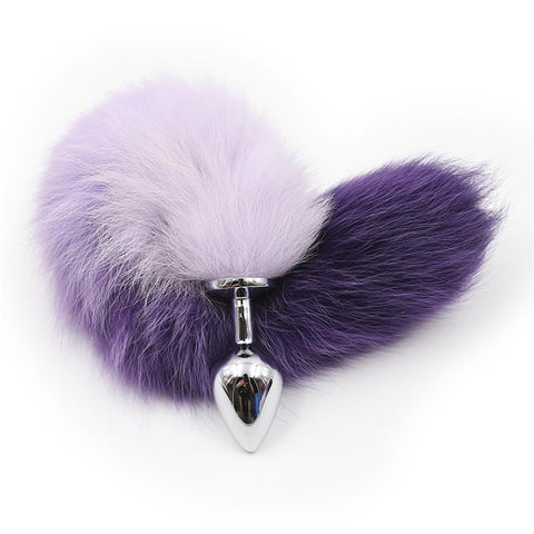 "15"" WHITE WITH PURPLE CAT TAIL STAINLESS STEEL PLUG  theelaborated"