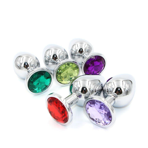 3 PIECES MULTI COLOR JEWEL-PLATED STAINLESS STEEL PLUG  pluglust