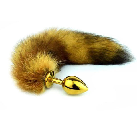 "14"" BROWN FOX TAIL STAINLESS STEEL PLUG  theelaborated"