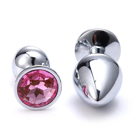 3 PCS/SET STAINLESS STEEL JEWELED PLUG WITH SILICONE BULLET VIBRATOR  pluglust