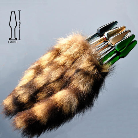 RACCOON TAIL WITH 4 COLORS PYREX PLUG  pluglust