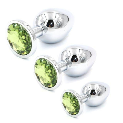 3 PIECES MULTI COLOR JEWEL-PLATED STAINLESS STEEL PLUG Metal / Light Green pluglust