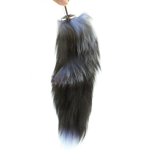 "15"" BLACK NATURAL FUR STAINLESS STEEL PLUG  pluglust"