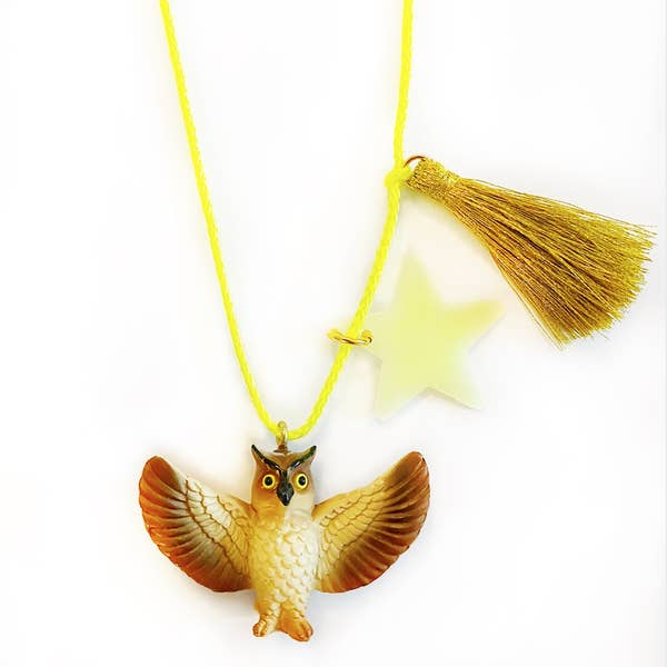 Marlo the Owl w/ Glow in the Dark Star Necklace