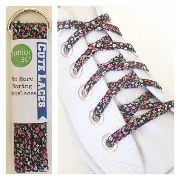 Navy Floral Shoe Laces by Cute Laces