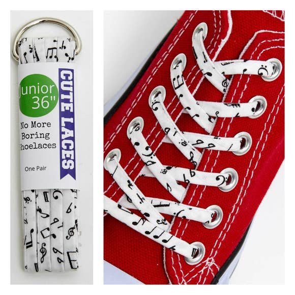 Music Notes Youth Laces by Cute Laces