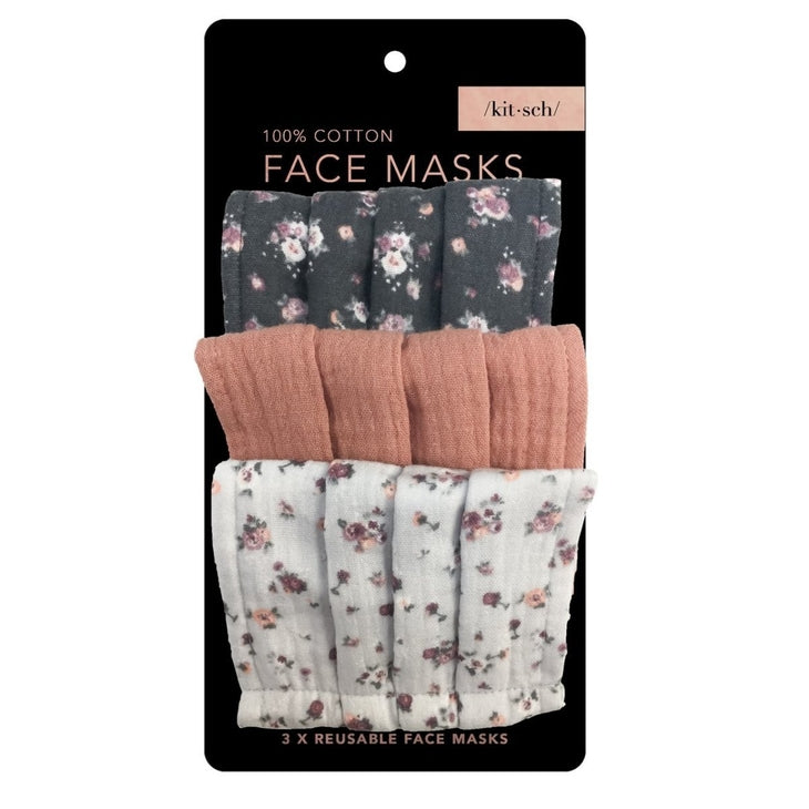 Cotton Mask- 3pc Set- Vintage Floral