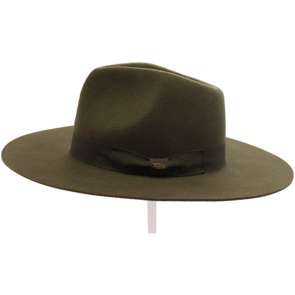 Ribbon Band Trim Wool Felt Panama Hat (multiple colors)- Teen/Junior