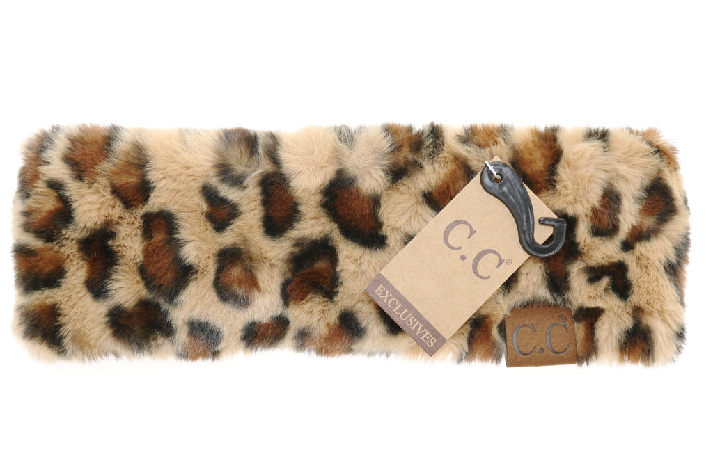 Leopard Faux Fur Headwrap by CC Beanie- Adult/Teen