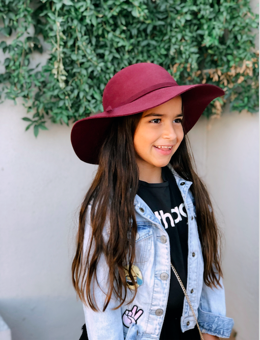 Juniper Maroon Felt Hat by Henny and Coco