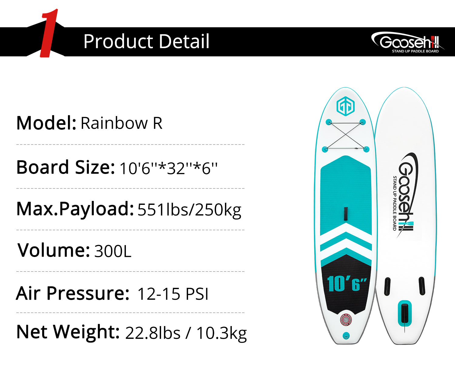 Goosehill Rainbow R Inflatable SUP Board