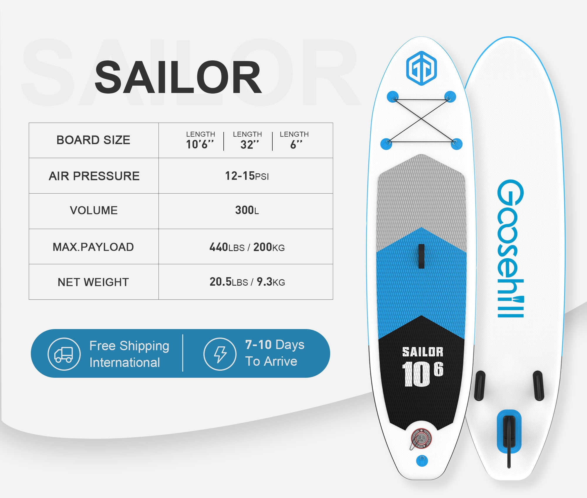 Inflatable Stand up paddle board Sailor info