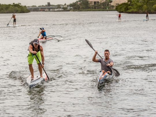 SUP racing jupiter tuesday night paddle boarding