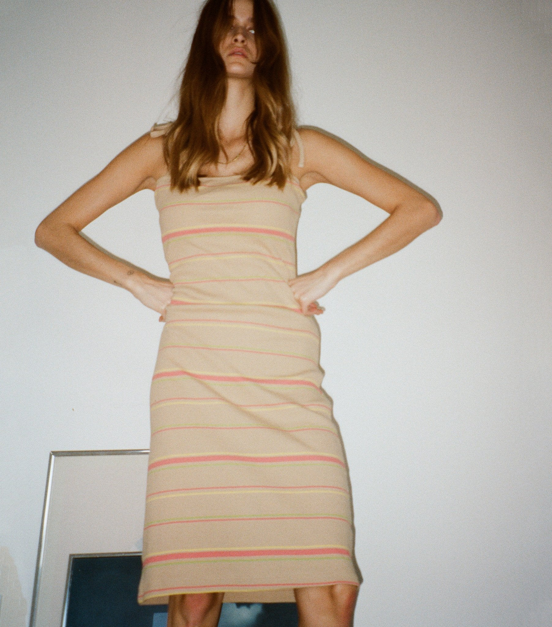 Petra Ribbed Fitted Dress - Warm Sand Stripe