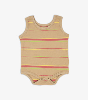 Ribbed Singlet Onesie - Warm Sand Stripe