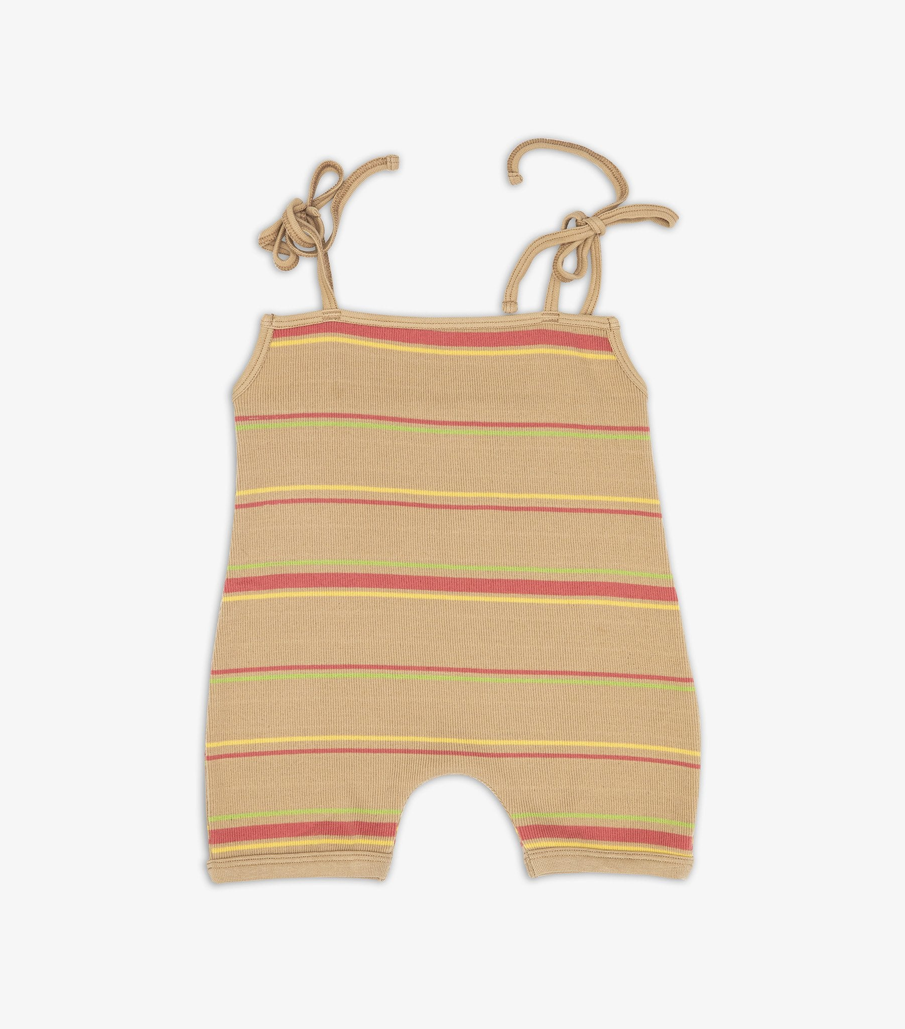 Ribbed Playsuit - Warm Sand Stripe