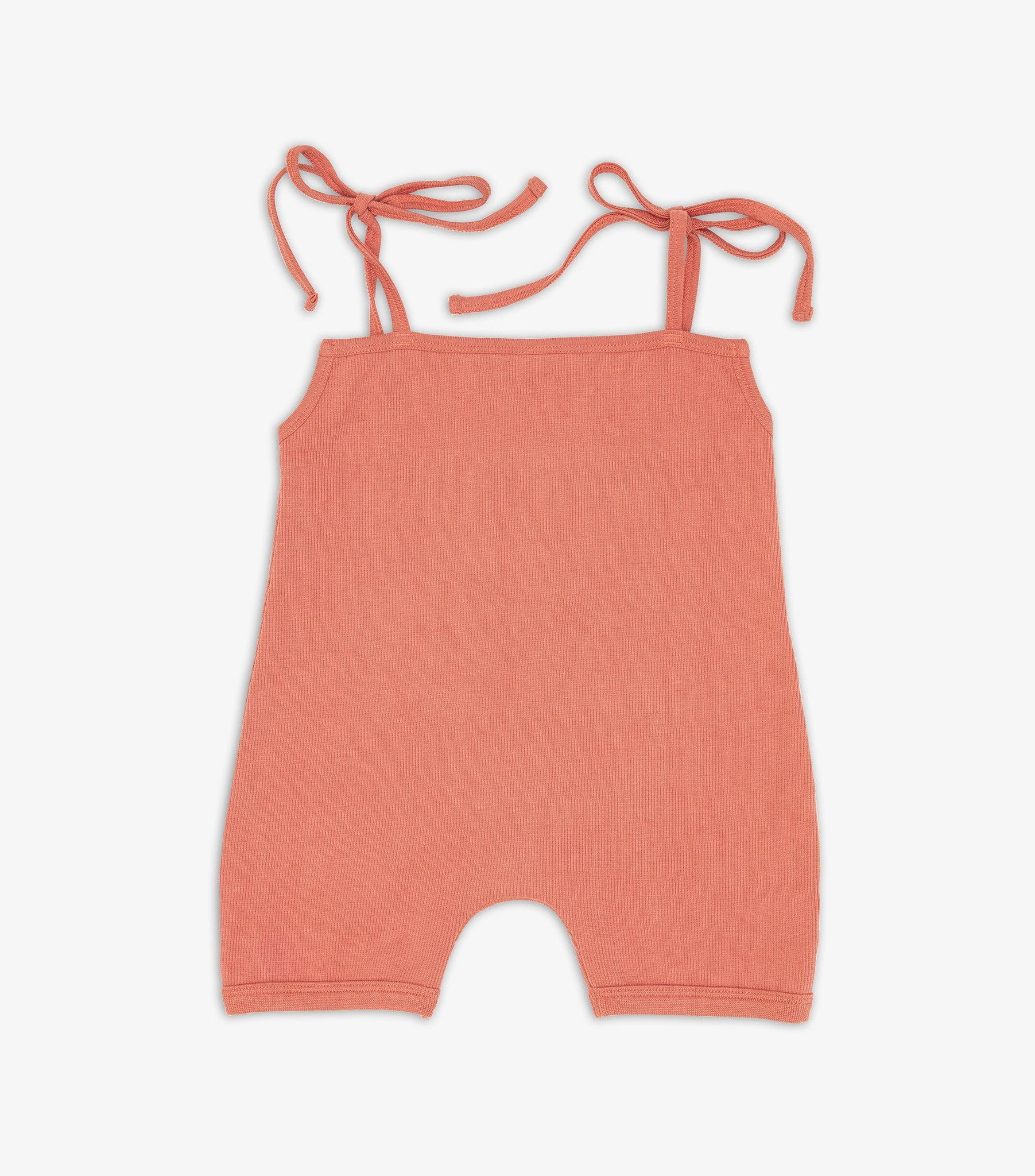 Ribbed Playsuit - Coral Pink