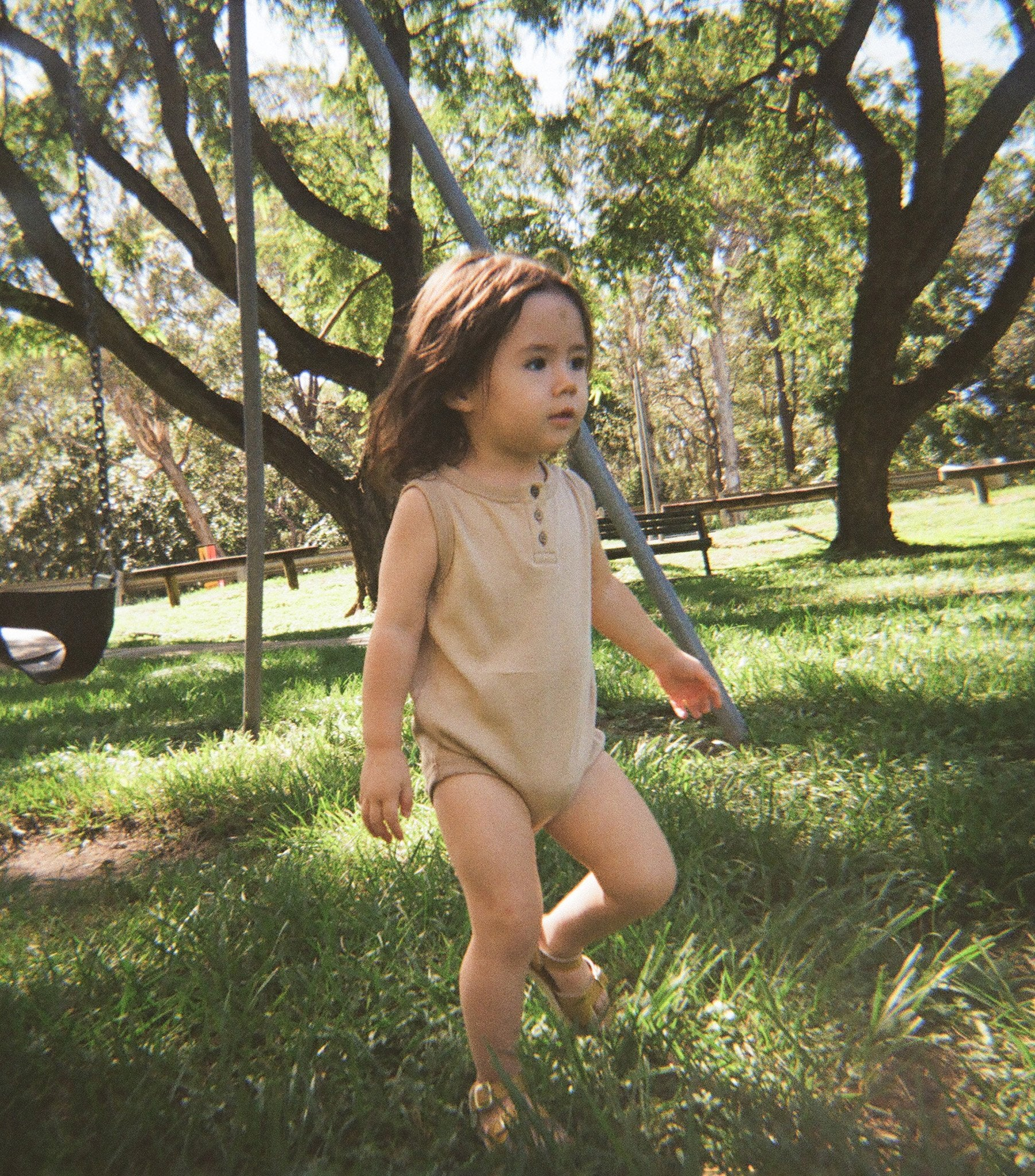 Singlet Onesie With Buttons - Warm Sand