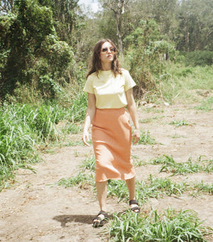 High Waisted Rib Skirt - Jaffa Orange