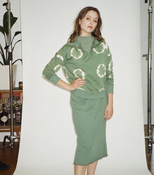 High Neck Zipper Jumper- Cactus Green Tie Dye