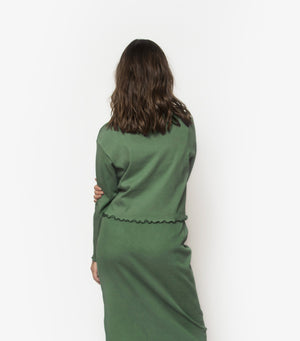 High Neck Rib Long Sleeve - Cactus Green