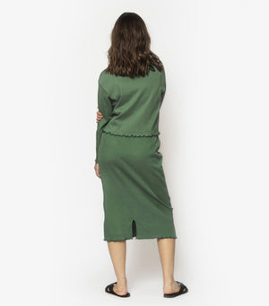 High Waisted Rib Skirt - Cactus Green