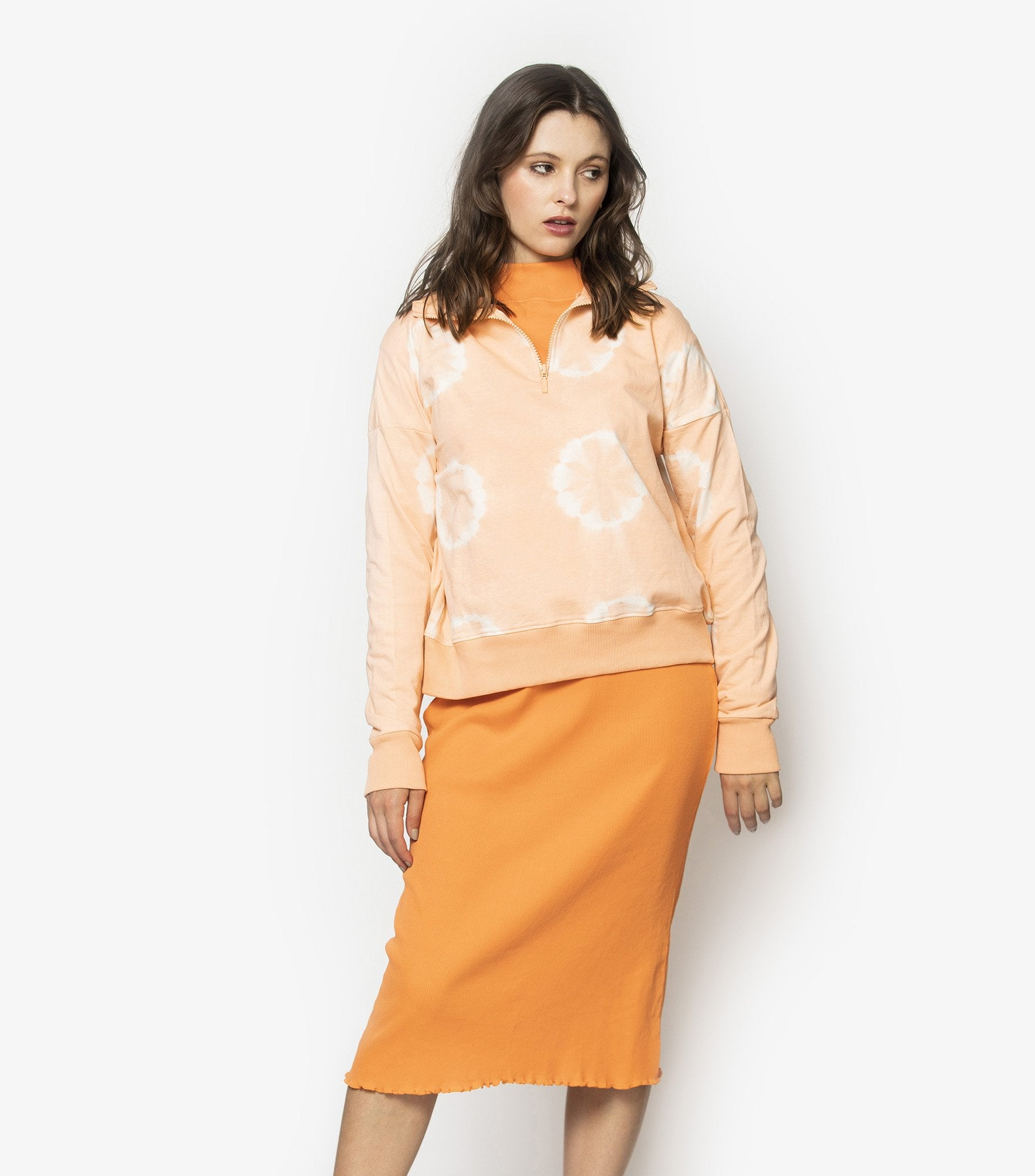 High Neck Zipper Jumper - Peach Tie Dye