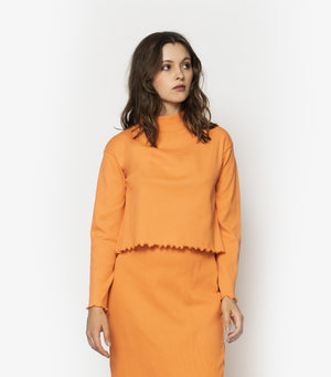 High Neck Rib Long Sleeve - Jaffa Orange