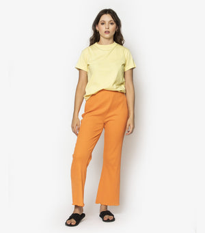 High Waisted Rib Flare Pants - Jaffa Orange
