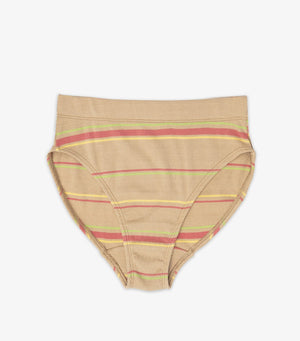 Petra Hi-Cut Mid Rise Brief - Warm Sand Stripe
