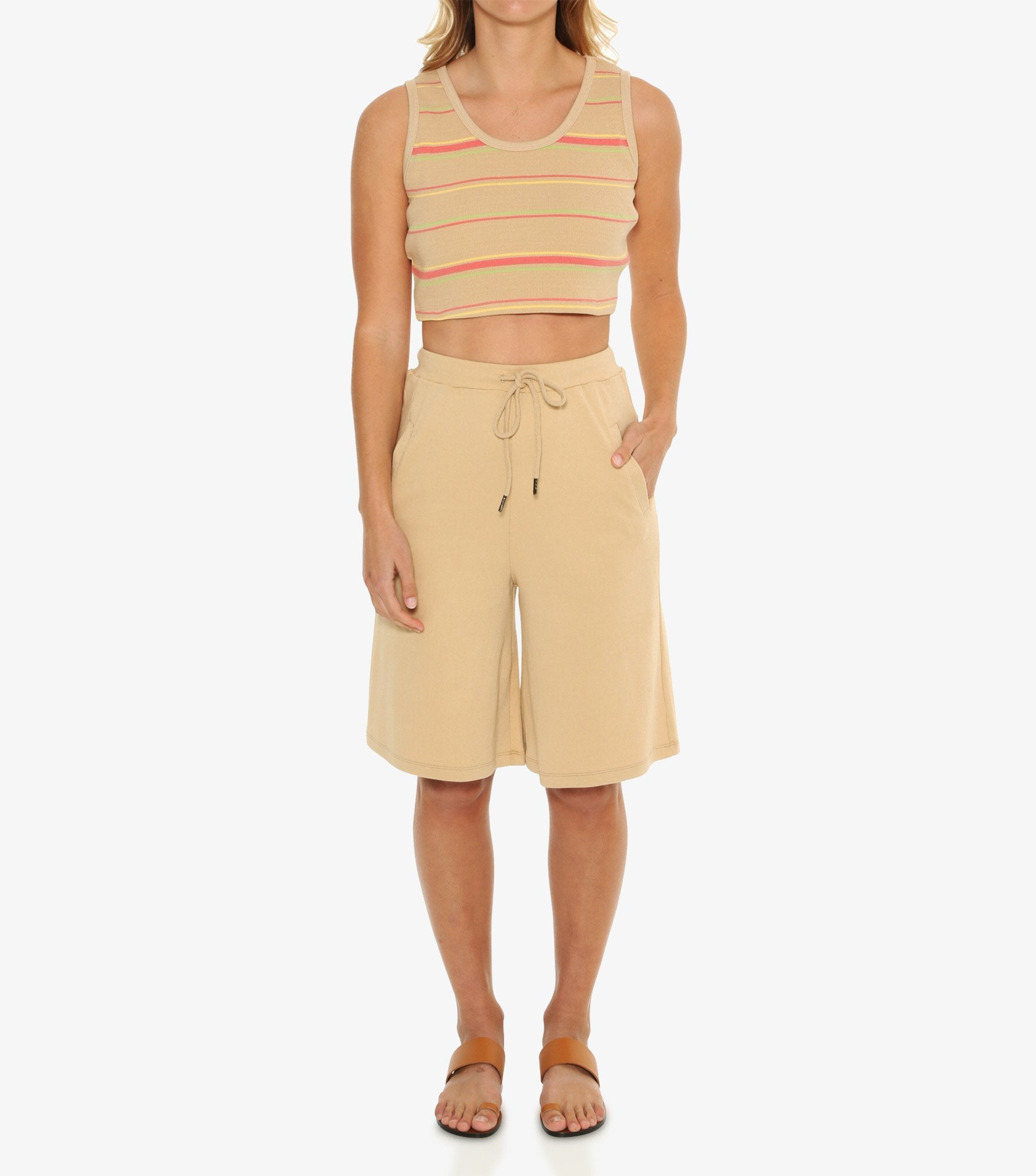Petra Ribbed Crop - Warm Sand Stripe