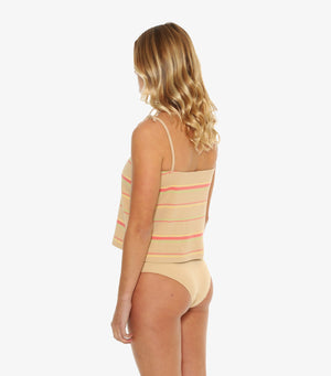 Petra Ribbed Singlet - Warm Sand Stripe