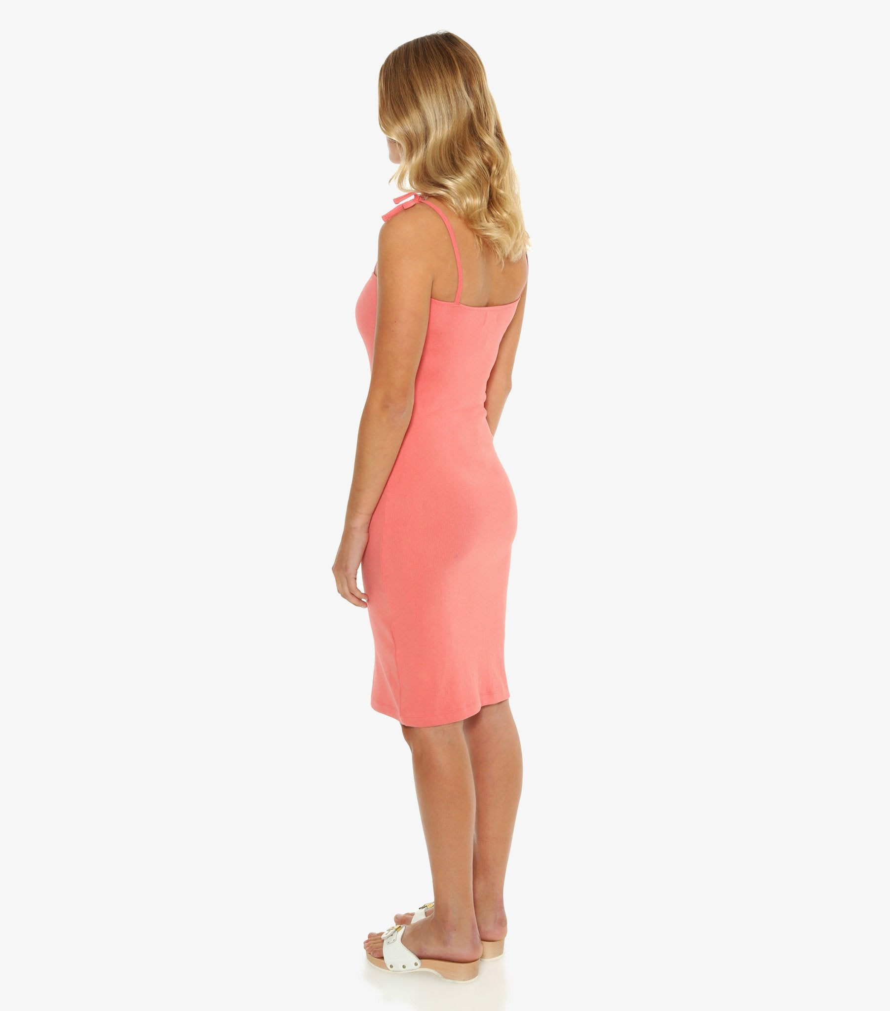 Petra Ribbed Fitted Dress - Coral Pink