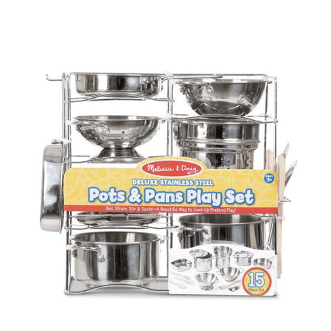 Deluxe Stainless Steel Pots & Pan Play Set