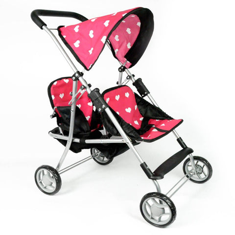 First Doll Twin Stroller Heart Design with Basket and Hood