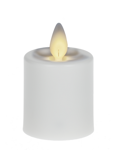 "2"" Resin LED Votive Candle 2 pc Set - White"