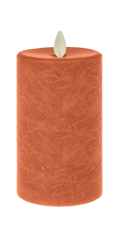 3x7 Wax LED Textured Pillar Candle - Tangerine